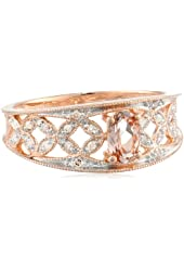 10k Rose Gold Morganite and Diamond Oval Shaped Ring (0.1 cttw GH, Color, I2-I3 Clarity)