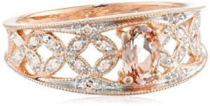 Amazon Curated Collection 10k Rose Gold Morganite and Diamond Oval Shaped Ring (0.1 cttw GH, Color, I2-I3 Clarity) at Sears.com