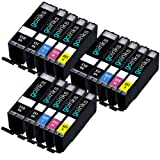 3 Compatible Set of 5 Canon PGI-550 & CLI-551 Printer Ink Cartridges (15 Inks) - Black / Cyan / Magenta / Yellow for Canon Pixma iP7250, iP8750, iX6850, MG5450, MG5550, MG6350, MG6450, MG7150, MX725