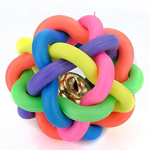 corner-biz-pet-45cm-petsmart-dog-toys-woven-rainbow-color-rubber-bell-ball