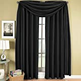 Exquisite Draperies Soho Rod Pocket Faux Silk Window Treatments, Contemporary Décor Panels & Scarfs, Panels Available in 63, 84, 96 & 108 Inches Length, Complete Modern Look With Matching Scarf, 42 Inches by 216 Inches Scarf, Black