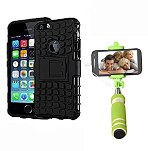 Aart Hard Dual Tough Military Grade Defender Series Bumper back case with Flip Kick Stand for Iphone 6G + Aux Wired Mini Pocket Selfie Stick by Aart store.