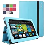 Kindle Fire HD 7(2013 OLD Model) Case - Poetic Kindle Fire HD 7(2013 OLD Model) Case [SlimBook Series] - [SlimFit] [Professional] PU Leather Slim Folio Case for Amazon Kindle Fire HD 7(2013 OLD Model) 2nd Gen (2013) 7inch Tablet Light Blue (3 Year Manufacturer Warranty From Poetic)