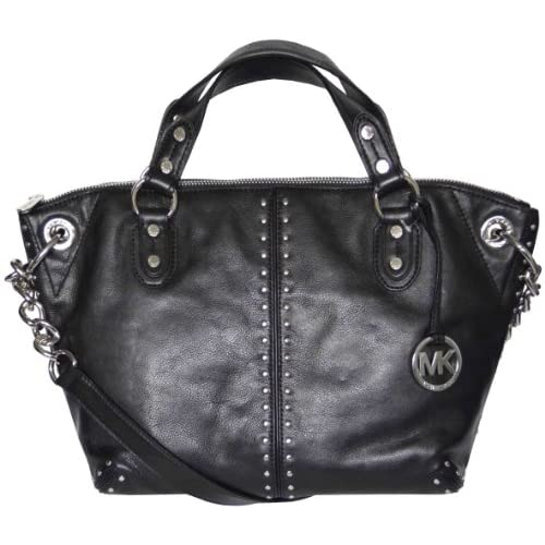 Michael Kors Black Leather Astor Large Chain Satchel Tote Bag Handbag