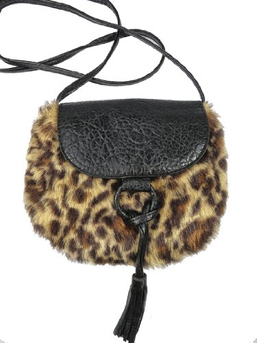 Bueno Faux Fur Leopard 2 Tone Cross Body Handbag