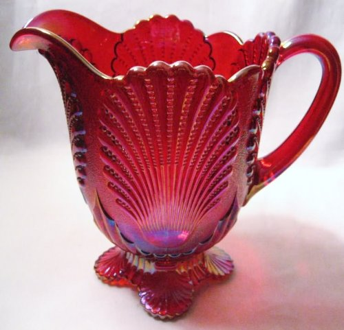 Ruby Red Carnival Glass Large Footed Shell Pitcher Large Carnival Glass