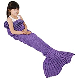 Mermaid Tail Blanket Elover Handmade Crochet Super Soft Sleeping Bags for All Seasons(Child Size, Purple)
