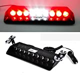Wecade® 9 Led 9w Car Truck Strobe Windshield Dash Lights 16 Pattern Super Bright for EMS Law Enforcement Warning LED Strobe Lights (Red/White/Red)