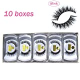 Wholesale 10 boxes/lot 100% Real Mink Hair Messy Cross False Eyelashes 3D Winged Fake Eye Lashes MY-008 (Color: Black)