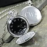 Timekeeper Personalized Black Face Silver-Plated Pocket Watch