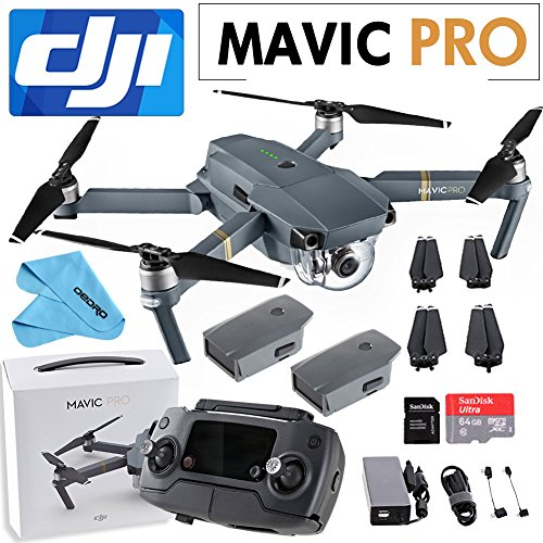 DJI Mavic Pro Collapsible Quadcopter+SanDisk 64GB+Intelligent Flight Battery+Cleaning Cloth