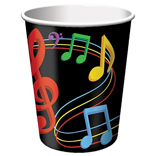 Dancing Music Notes Cups (8) 9oz Hot/Cold Birthday Dance Party Supply