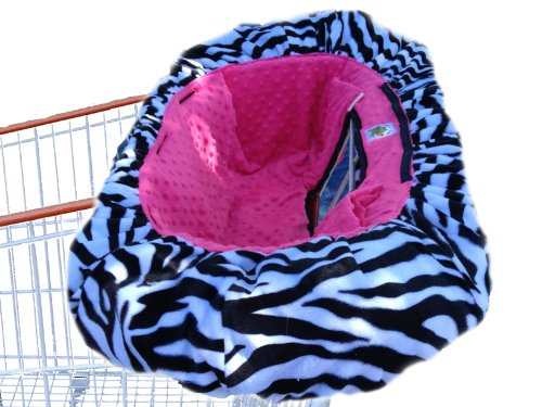 Patricia Ann Designs Minky Dot Shopping Cart Cover, Zebra With Hot Pink front-28742