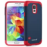 Fosmon HYBO-DUOC Slim Fit Dual-Layer Hybrid Case for Samsung Galaxy S5 (Red and Navy Blue)