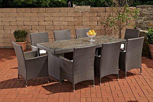 CLP Polyrattan Sitzgruppe AVIGNON BIG (8 Stühle + Tisch 200 x 90 cm) INKL. bequemen Sitzauflagen, aus bis zu 6 Rattan-Farben wählen grau