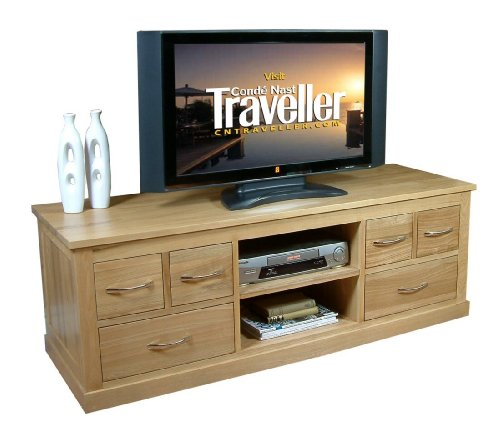 Widescreen Television Cabinet Mobel Solid Oak Upto 62