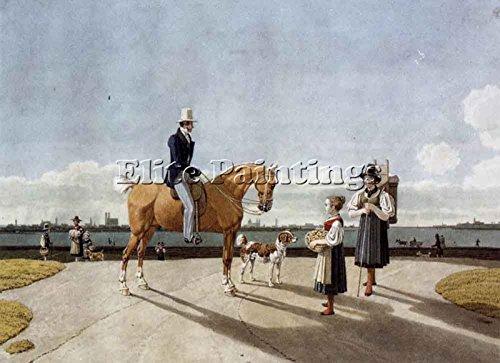kobell-gentleman-horseback-country-girl-banks-isar-munich-artiste-tableau-huile-40x60cm-haute-qualit