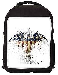 Snoogg Eagle With American Flag Backpack Rucksack School Travel Unisex Casual Canvas Bag Bookbag Satchel