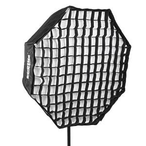 Phottix Easy-up Schirmsoftbox II (Durchmesser: 80cm, achteckig mit Gitter) innen silber, außen schwarz