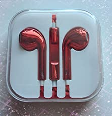 buy Earphones Earbud Headset Headphone With Mic For Apple Iphone 5 Iphone 6 Ipod 3.5 (Electroplate Red)