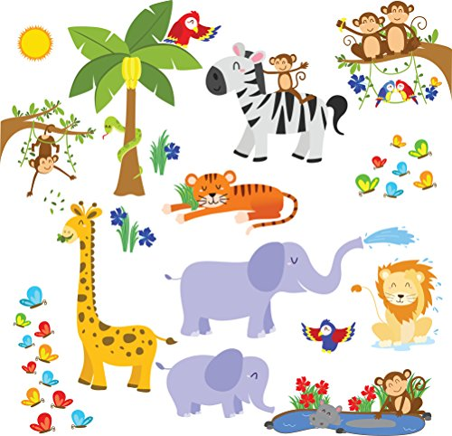 Jungle Safari Wall Decals - Fun Animals for Kids Rooms and Nursery - Easy Peel Wall Stickers (Farm Window Decal compare prices)