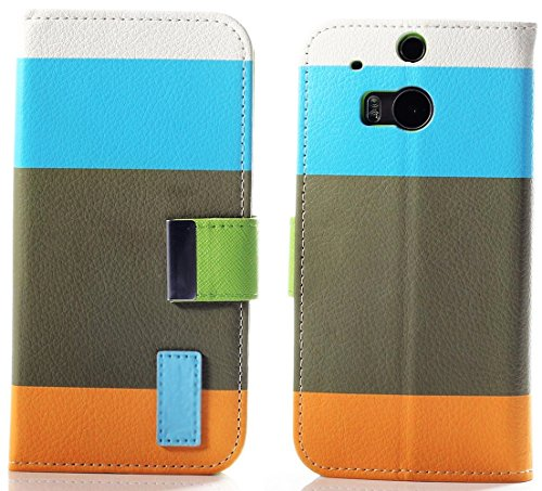 Mylife (Tm) Deep Sky Blue And Lime Green {Color Block Design} Faux Leather (Card, Cash And Id Holder + Magnetic Closing) Slim Wallet For The All-New Htc One M8 Android Smartphone - Aka, 2Nd Gen Htc One (External Textured Synthetic Leather With Magnetic Cl