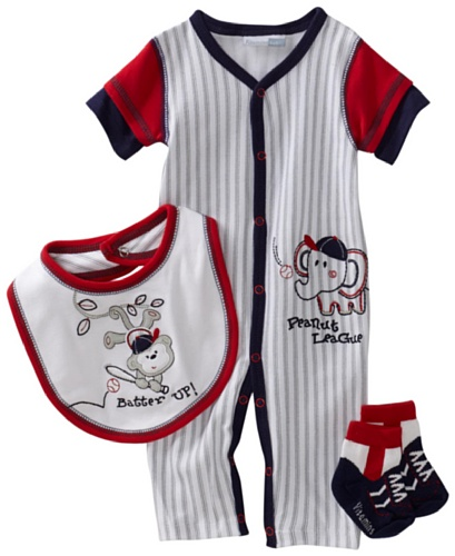 Vitamins Baby Baby-Boys Batter Up 3-Piece Coverall Set, White, 9 Months