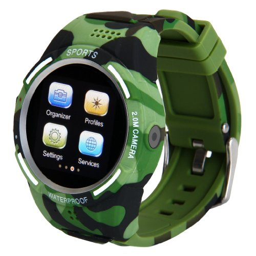 Excelvan® Anti-Lost Daul Bluetooth Sports Pedometer Phone Smartwatch The Perfect Companion For Smart Phone/Android/Iphone Camouflage