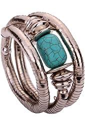Yazilind Jewelry Vintage Twisted Rimous Alloy Arm Bangle Bracelet for Women