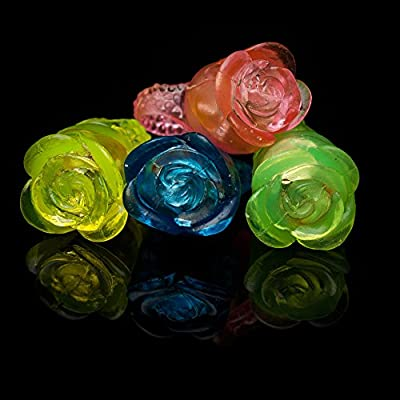 Fun Central I544 LED Flashing Jelly Flower Rings - Assorted 24 Count Light Up by Fun Central