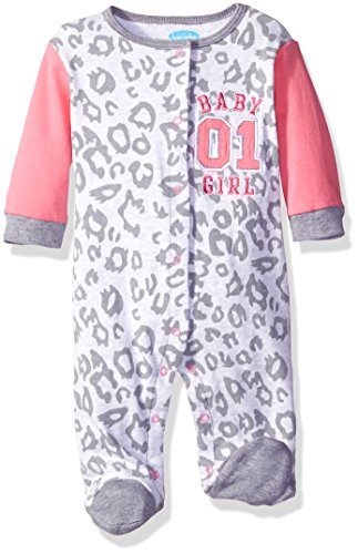 BON BEBE Girls' Footed Snap Front Coverall with Applique, Cheetah Pink, 0-3 Months