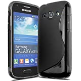 Samsung Galaxy Ace3 / S7270 / S7272 Black Tpu Jelly Rubber Gel Skin Case Cover Plus Screen Protector & Cleaning Cloth