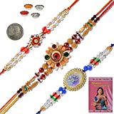 Little India Rajasthani 3 Pc Handcrafted Designer Beaded Rakhi Gift 502
