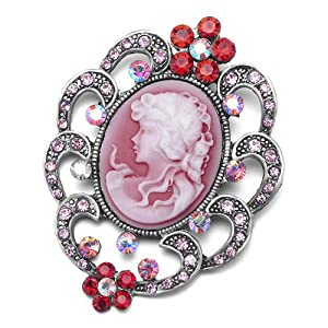 Pugster Classic Antique Lady Maiden Profile Oval Red Beauty Cameo Border Flower Floral Light Red Swarovski Crystal Diamond Accent Brooches Pins