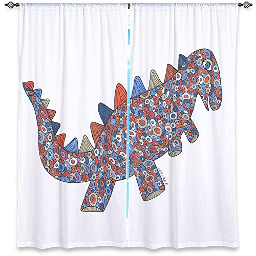 Window Curtains Unlined from DiaNoche Designs Artistic, Stylish, Unique, Decorative, Fun, Funky, Cool by Valerie Lorimer – Dinosaur on the Roam