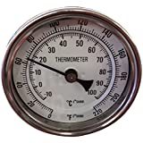 "Thermometer- 3"" Dial with 2"" Stainless Probe and Calibration Screw 0 - 220 Degrees"