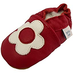Dotty Fish Baby Girls Soft Leather Shoe with Suede Soles Red White Flower 0-6 Months to 2-3 Years