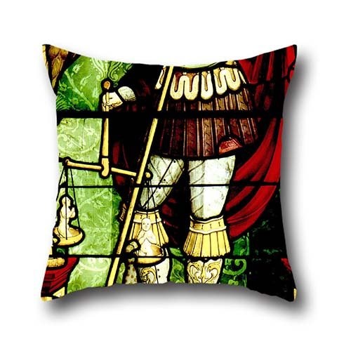 20 X 20 Inch / 50 By 50 Cm Oil Painting Antonio Da Pandino - Stained Glass With St. Michael Weighing Souls Cushion Cases ,2 Sides Ornament And Gift To Club,coffee House,teens Girls,son,bedroom,wife