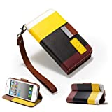 32nd® Multiple Stripes Design Wallet PU leather case cover fits iphone 4 4S + screen protector, cloth and stylus pen - Yellow