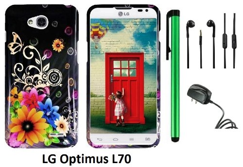 Lg Optimus L70 (Ms323) Premium Pretty Design Protector Hard Cover Case + Travel (Wall) Charger + 3.5Mm Stereo Earphones + 1 Of New Assorted Color Metal Stylus Touch Screen Pen (Yellow Pink Chromatic Flower Black Silver Butterfly)