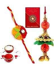 Ethnic Rakhi Designer Colorful Floral Pattern Fashionable And Stylish Bhaiya Bhabhi Mauli Thread And Beads Rakhi... - B01IIMBGOK
