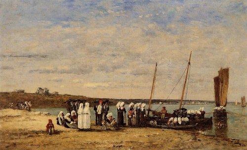 c-Paintings,Pro Hand Painted Oil Paintings-Fishermen,Kerhor Receiving,Blessing,Plougastel