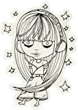 Little Darlings Groovin' Dollhouse Cling Mounted Rubber Stamp, 3.8 by 2.67