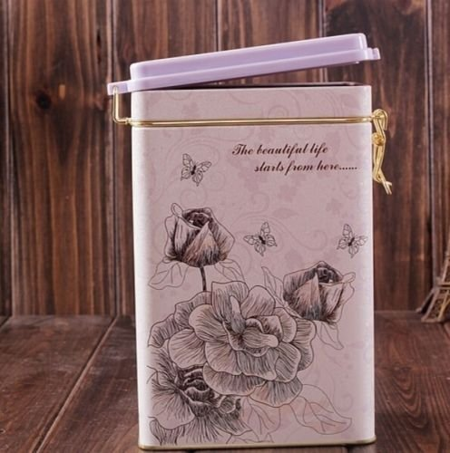 Decorative Jar with Lid Retro Large White Rose Flower Coffee Tea Sealed Container Jar Tin Metal Kitchen Decoration Home Decor 21.5cm X 12cm 2