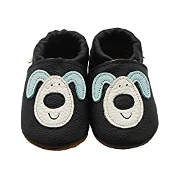 Sayoyo Baby Dog Soft Sole Leather Infant Toddler Prewalker Shoes (6-12 months, Black)