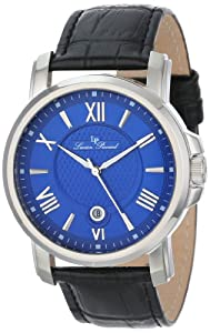 Lucien Piccard Men's LP-12358-03 Cilindro Blue Textured Dial Black Leather Watch from Lucien Piccard