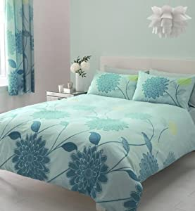 Aqua Amp Teal King Size Duvet Set With Matching Curtains 66