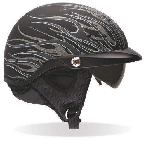 Bell Pit Boss Flames Motorcycle Half Helmet - Matte Titanium, Medium
