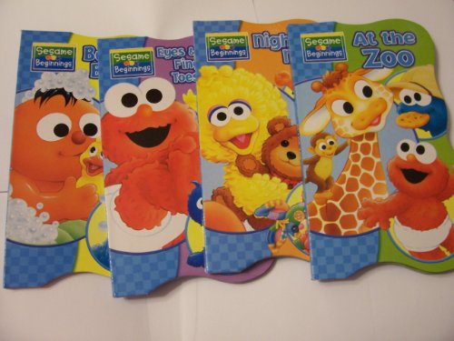Sesame Beginnings Shaped Educational Board Books Complete Set ~ At the Zoo, Bubbles Bubbles, Eyes Nose Fingers and Toes, and Nighty-Night (2011)