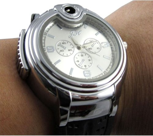 Best Price RoKo Novelty Real Watch with Collectable Butane Cigarette Cigar Lighte (White)